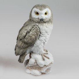 Eule auf Stein 25cm grau-weiß