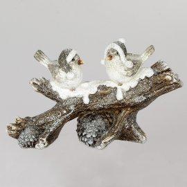Wintervögel 27cm auf Zweig 2er mit Tannenzapfen weiß