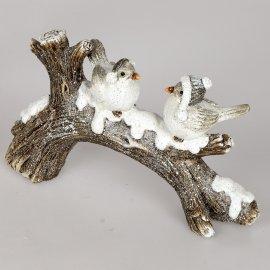 Wintervögel 27cm auf Zweig 2er weiß