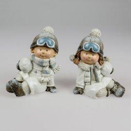 Kinder sitzend 19cm Wintersportler