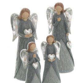 Engel mit Herz grau/silber 18cm