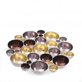 Teelichthalter, gold/silber/braun 30cm