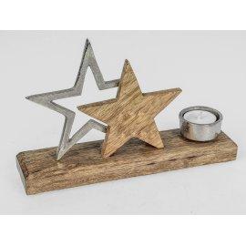 Leuchter Stern 25cm Alu Mango-Holz