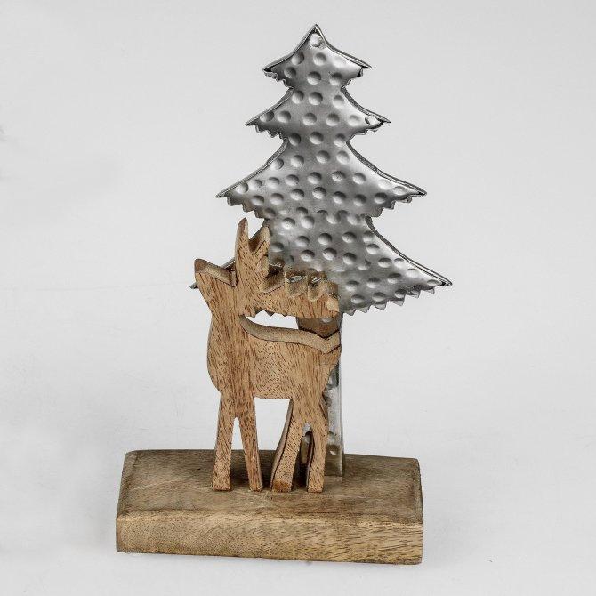 Rentier mit Baum Alu Mango-Holz