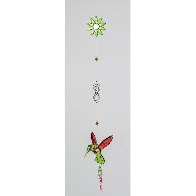 Hängedeko Vogel mit Blume 70cm grün-rot