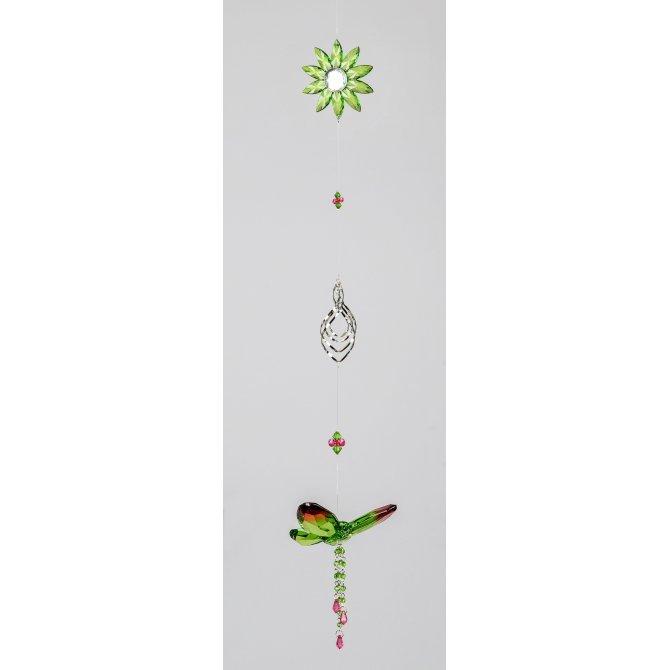 Hängedeko Schmetterling mit Blume 70cm grün-rot