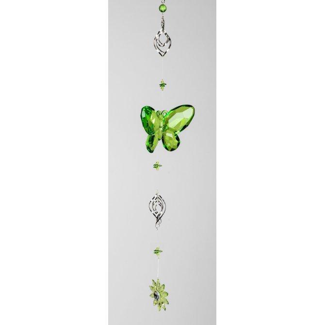Hängedeko Schmetterling Acryl mit Metall 90cm grün-rot