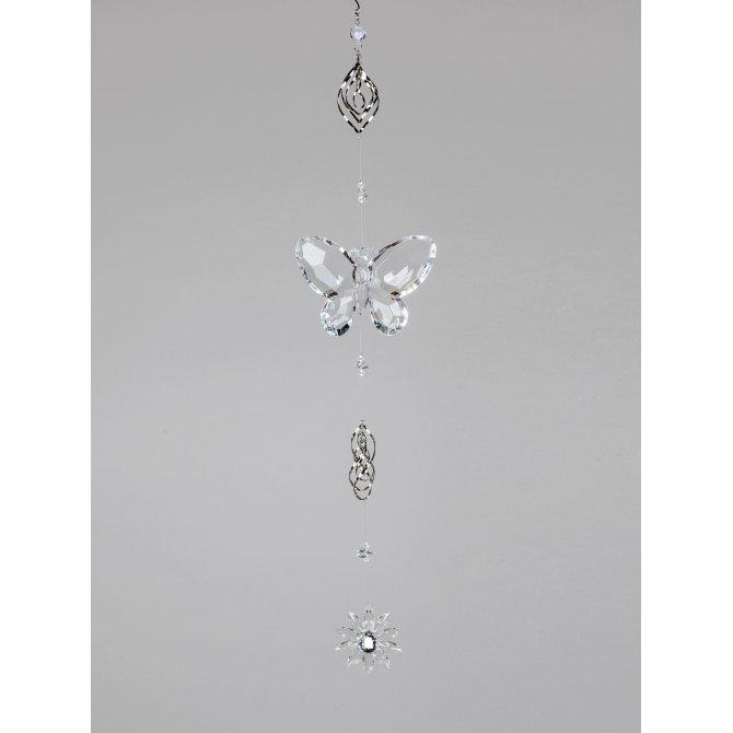 Hänger Schmetterling Acryl mit Metall, 66cm - klar