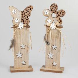 Deko-Ständer mit Blumenmuster 38cm Holz-Stämme