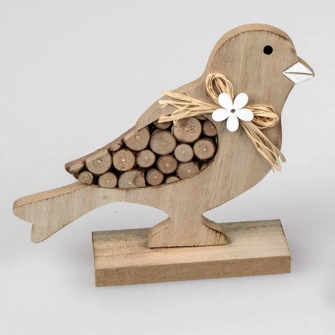 Vogel aus Holz, 18cm Holz-Stämme