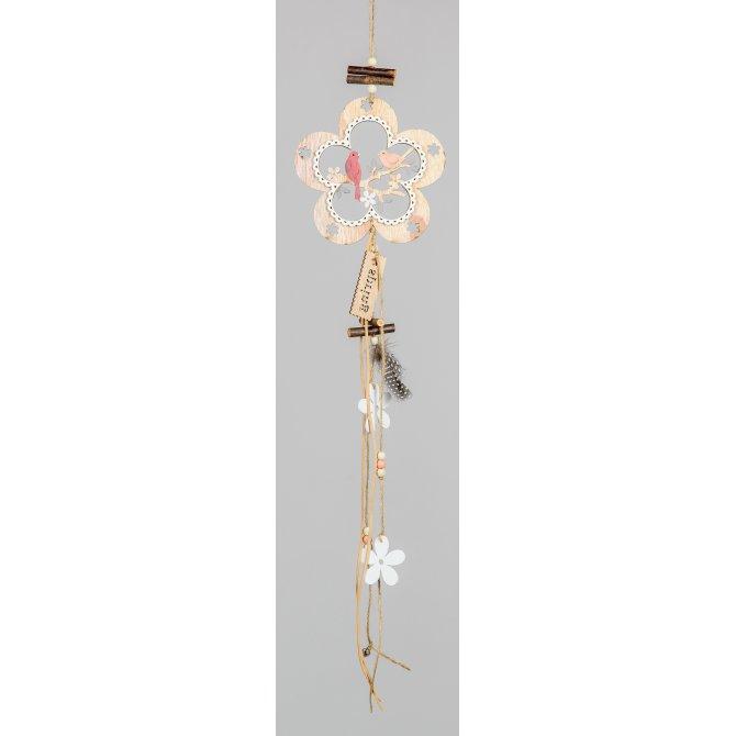 Hängedeko Blume mit Vogel 64cm Holz handbemalt