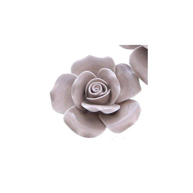Rose aus Keramik, grau