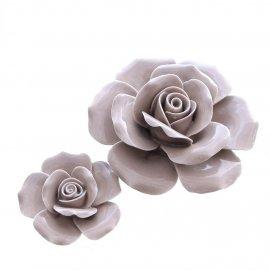 Rose aus Porzellan, grau