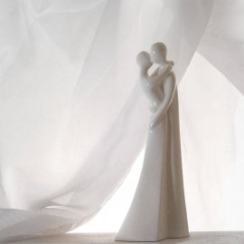 Liebespaar, creme glasiert, 23,5 cm
